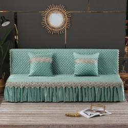 丽朝国际 意大利绒秋冬沙发床罩夹棉沙发巾沙发套垫 水绿