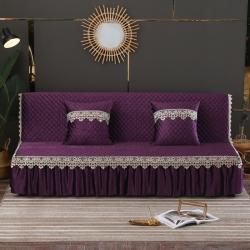麗朝國際 意大利絨秋冬沙發床罩夾棉沙發巾沙發套墊 紫