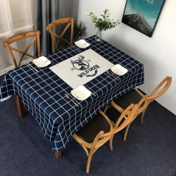 X 未知 2019新款北欧风防水桌布 鹿格(蓝)