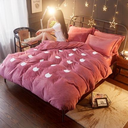 (总)优贝家纺 冬款加厚法莱绒贴布绣花四件套床单款