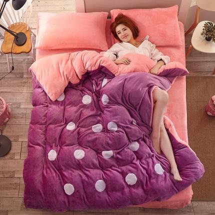 优贝家纺冬款加厚法莱绒贴布绣花四件套床单款圆圈魅紫粉