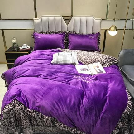 钱夫人2019冬款《美女与野兽》宝宝绒水晶绒四件套实拍 紫色