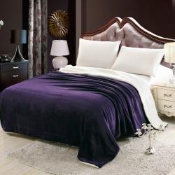 龍鳳家紡 法萊絨拼羊羔絨毯 紫