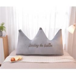 梦雨轩 毛巾绣水晶绒大靠背皇冠床靠枕床靠背枕芯 灰色