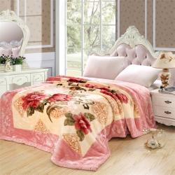 法莱妮  加厚保暖拉舍尔婚庆系列毛毯 粉红世家