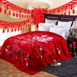 法莱妮  加厚保暖拉舍尔婚庆系列毛毯 红双喜