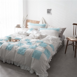 (总)8小时 工艺款水洗色织双层纱多拼四件套床笠款