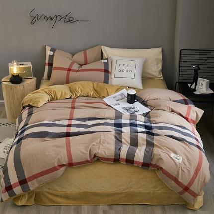 平头哥A版色织水洗棉B版水晶绒四件套床单款17巴宝莉格(大)