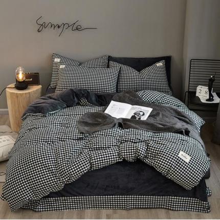 平头哥 A版色织水洗棉B版水晶绒四件套床单款 19黑小格