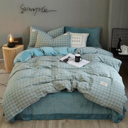 平头哥 A版色织水洗棉B版水晶绒四件套床单款27布丁格(绿)