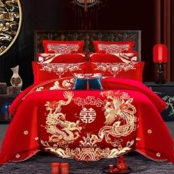(总)尹黛尔家纺2019新款磨毛婚庆四件套刺绣龙凤床单款系列