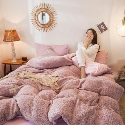 好美家 2019新款A版羊羔绒B版水晶绒四件套 粉紫