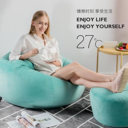 百思寒 2018新款圆绒豆袋型懒人沙发(包邮)浅蓝色