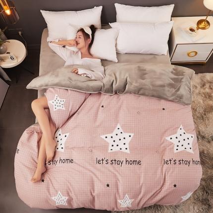 红粉佳人 2019法莱绒棉加绒水晶绒单被套模特图 星星的你