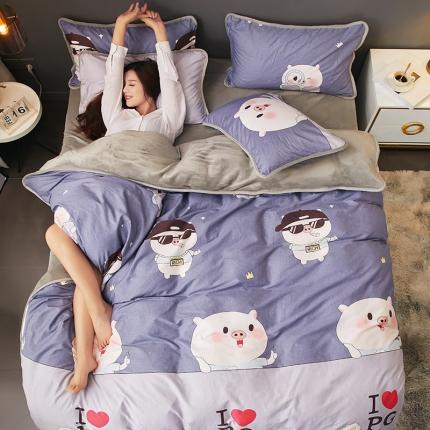 红粉佳人 2019法莱绒棉加绒水晶绒四件套床单款模特图幸运猪