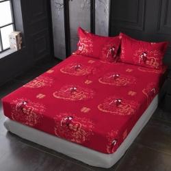 (总)七仙女家纺2019年新款32支全棉生态大红磨毛单品床笠