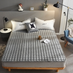 眠勢力 2019新款保暖法萊絨印花床墊 高冷灰