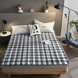 眠勢力 2019新款保暖法萊絨印花床墊 灰白格