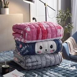 (总)眠势力法兰绒床垫软薄法莱绒加厚珊瑚绒可水洗保暖床褥毛毯