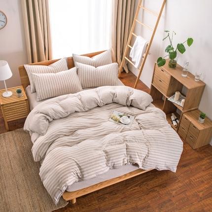 新棉坊 针织棉四件套床单款 浅咖中条