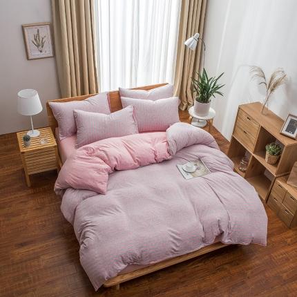 新棉坊 针织棉四件套床单款 粉灰中条