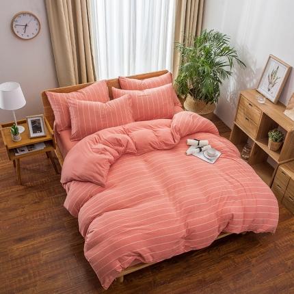 新棉坊 针织棉四件套床单款 桔色宽条