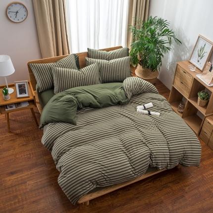 新棉坊 针织棉四件套床单款 墨绿中条