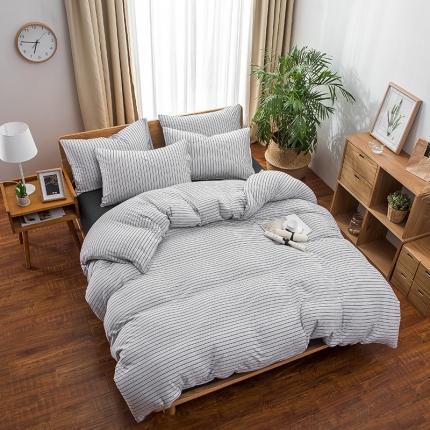 新棉坊 针织棉四件套床单款 雅白细条