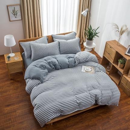 新棉坊 针织棉四件套床单款 烟兰中条
