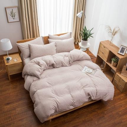 新棉坊 针织棉四件套床单款 棕米细条