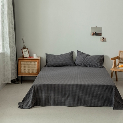 新棉坊 2019新款色织水洗棉单品床单 小灰格