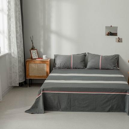 新棉坊 2019新款色织水洗棉单品床单 运动灰