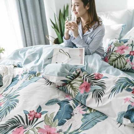 小米家居2018新款全棉早春新品皇冠假日系列床单款 热带风情
