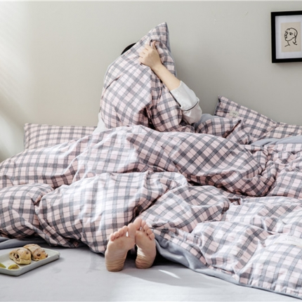 小米家居 2018秋冬经典格致棉加水晶绒四件套床单款 乔治