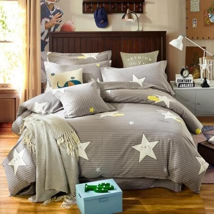 凯磊家纺 生态磨毛四件套床单款小星星