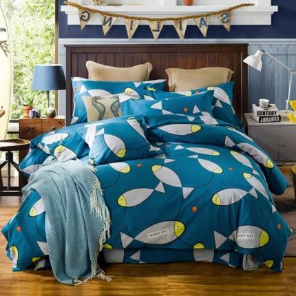 凯磊家纺 生态磨毛四件套床单款小鱼儿