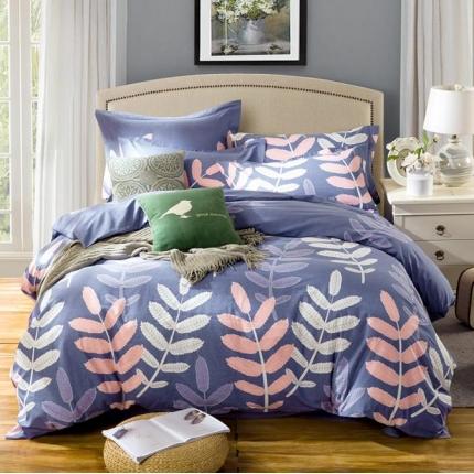 凯磊家纺 生态磨毛四件套床单款叶子彩-紫