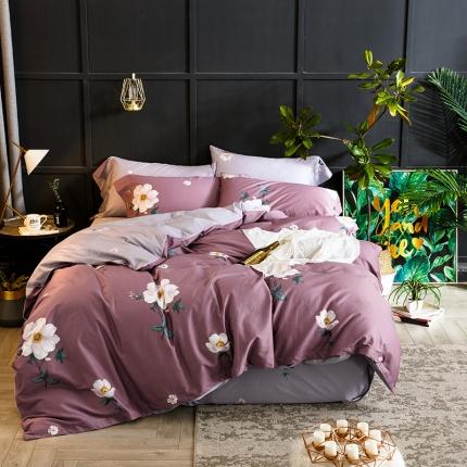 凯磊家纺 60长绒棉印花四件套 玉玲珑-紫
