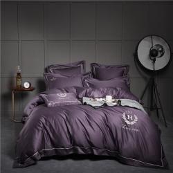 小谷粒 凯撒紫 60s长绒棉欧式风刺绣工艺四件套