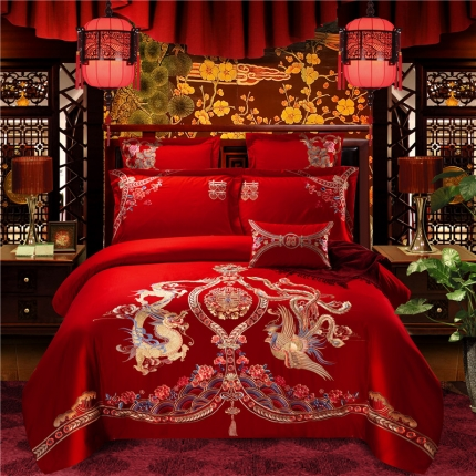 星尚家纺 高端婚庆60长绒棉重工刺绣四件套 龙飞凤舞
