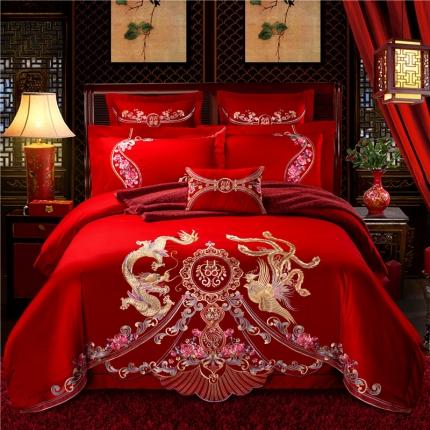 星尚家纺 高端婚庆60长绒棉重工刺绣四件套 龙腾凤舞