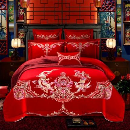 星尚家纺 高端婚庆60长绒棉重工刺绣四件套 龙舞奇缘