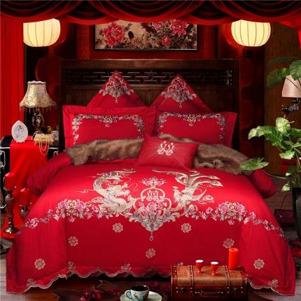 星尚家纺 高端婚庆60长绒棉重工刺绣四件套 龙姿风采