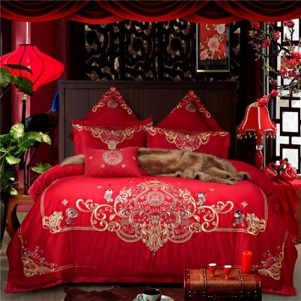星尚家纺 高端婚庆60长绒棉重工刺绣四件套 如花似锦