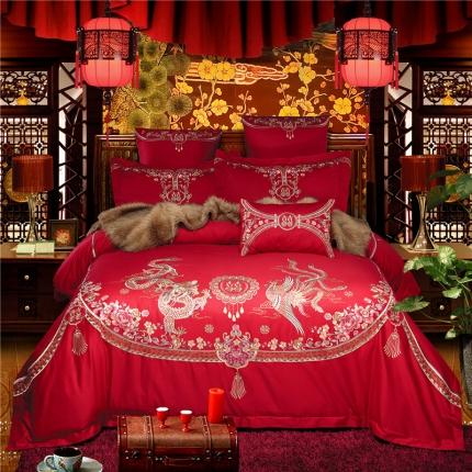 星尚家纺 高端婚庆60长绒棉重工刺绣四件套 舞凤飞龙
