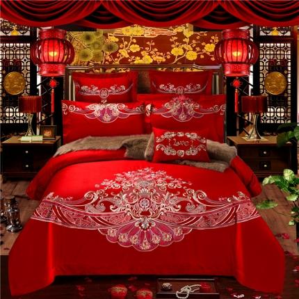 星尚家纺 高端婚庆60长绒棉重工刺绣四件套 相守相依