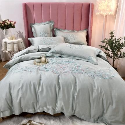 星尚家纺 新款60支长绒棉庭院爱丽丝四件套庭院芳菲-柠檬绿