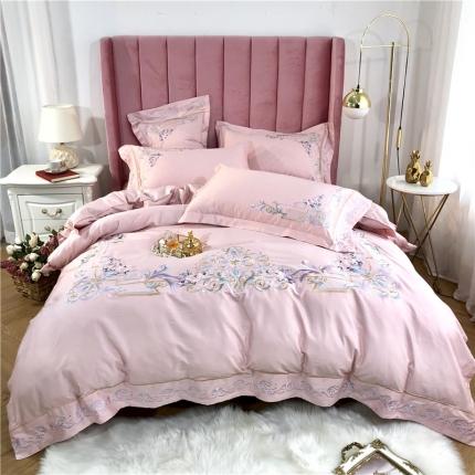 星尚家纺 新款60支长绒棉庭院爱丽丝四件套 拉菲庄园-粉玉