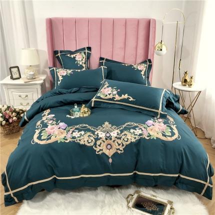 星尚家纺 新款60支长绒棉庭院爱丽丝四件套 莫洛卡-深绿