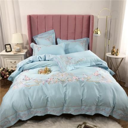 星尚家纺 新款60支长绒棉庭院爱丽丝四件套 拉菲庄园-浅蓝